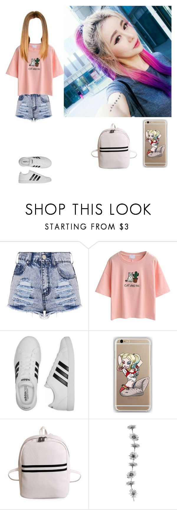 """""""out to eat with RuA-Rose"""" by girl-gang-official ❤ liked on Polyvore featuring WithChic, adidas and Samsung"""