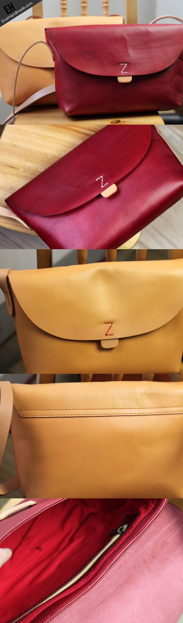 Handmade retro vintage rustic leather crossbody messenger Shoulder Bag   EverHandmade