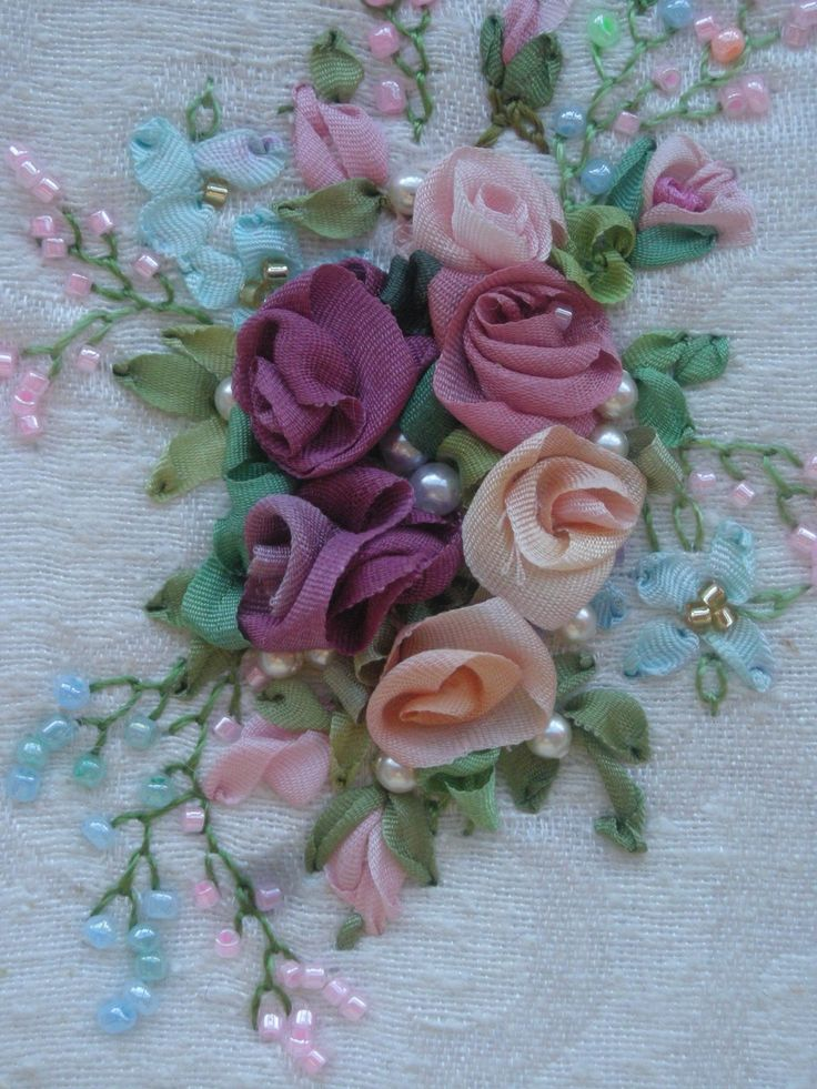 silk ribbon embroidery With beading