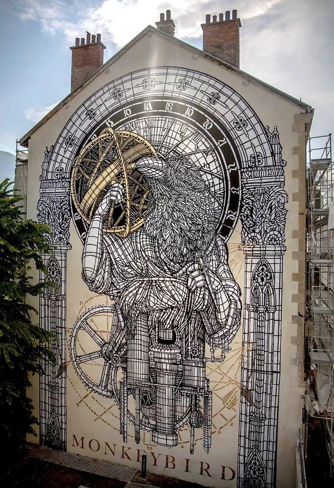 Street art : by Monkey bird , in Grenoble , France
