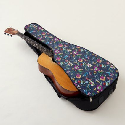 Navy Blue Purple Gold Floral Chintz Guitar Case - floral gifts flower flowers gift ideas
