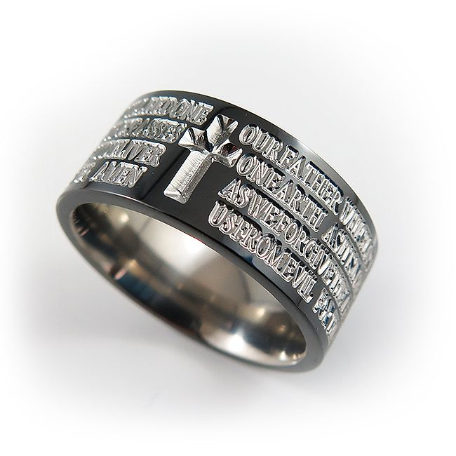 Custom Bible Quote religious ring, in black finish with natural titanium color inscriptions