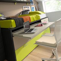 kids room, cama compacta con mesa de escritorio extraíble, cajones contenedores y cama supletoria moblestatat.com Horta Guinardó Barcelona