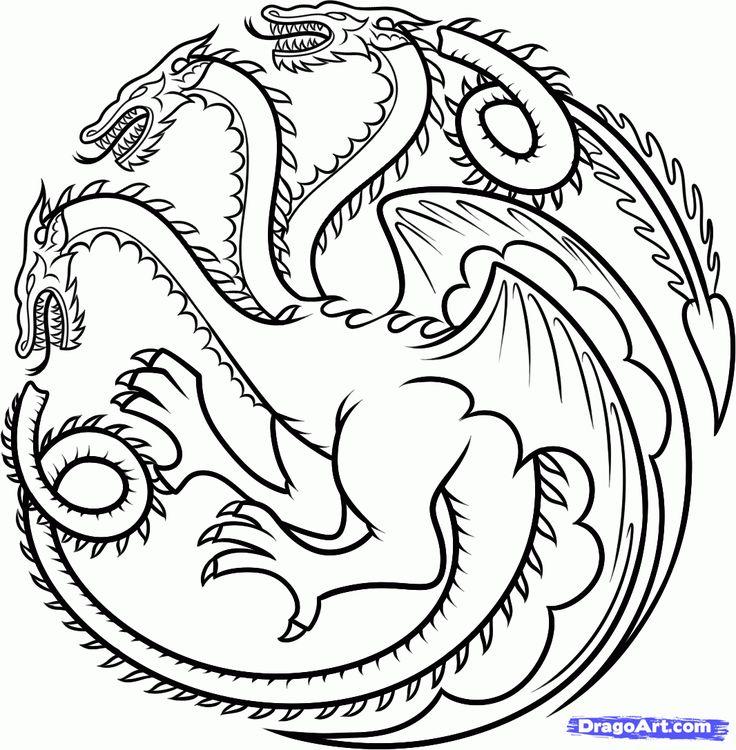 how to draw house targaryen, house targaryen dragon step 12