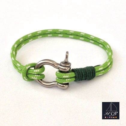 Green paracord bracelet with green line and stainless steel shackle - 45 RON