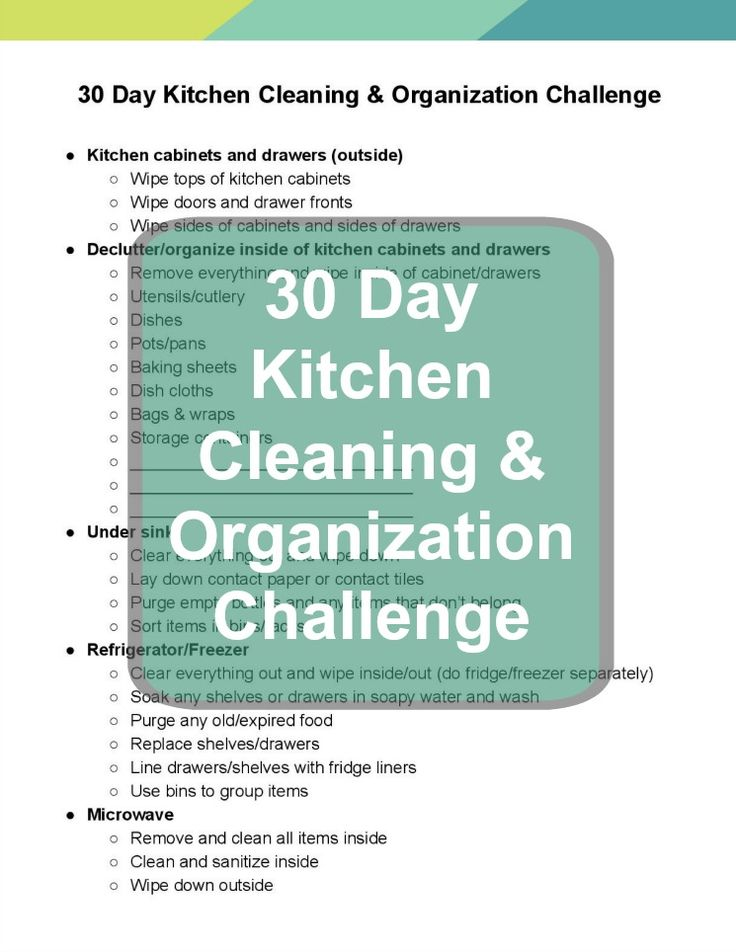 A free printable checklist and lots of tips and ideas to help organize and clean your entire kitchen!