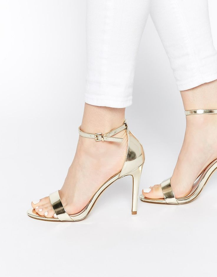 Image 1 ofALDO Paules Leather Gold Barely There Heeled Sandals