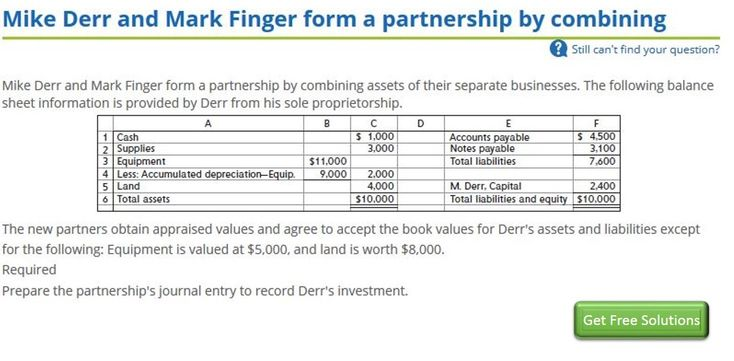 Mike Derr And Mark Finger Form A Partnership By Combining Sole Proprietorship Marks Balance Sheet