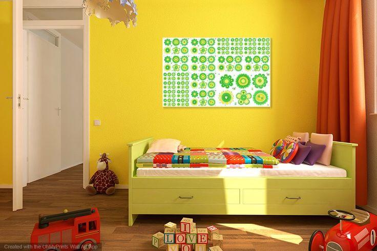 Blumencollage-Mädchenzimmer Dekoration,grün,gelb,Kids,Kleinkind,Blumen