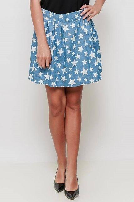 7663a9fb520a Svetlomodrá krátka sukňa s potlačou bielych hviezdičiek