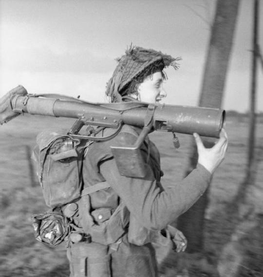 A PIAT gunner of the 1st Norfolk Regiment during the advance on Wanssum, 26 November 1944