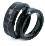 Matching Black Comfort Fit Tungsten Carbide Rings with Laser Forever Love Design 8mm (Size 5 -16) His  6mm (Size 4-16) Hers Set Aniversary/engagement/wedding Bands. Please E-mail Sizes ****PLEASE CONTACT US YOUR RING SIZES AFTER PURCHASE, THANK YOU!**** Click on JewelryWe link, scroll... - lovely #couple gift idea!