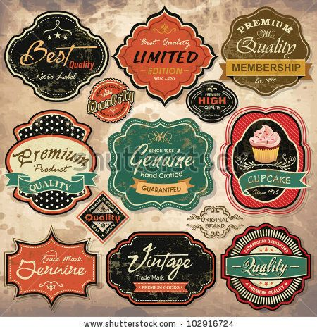 stock vector : Collection of vintage retro grunge labels, badges and icons