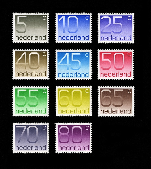 1970s Dutch stamps, designed by Wim Crouwel.