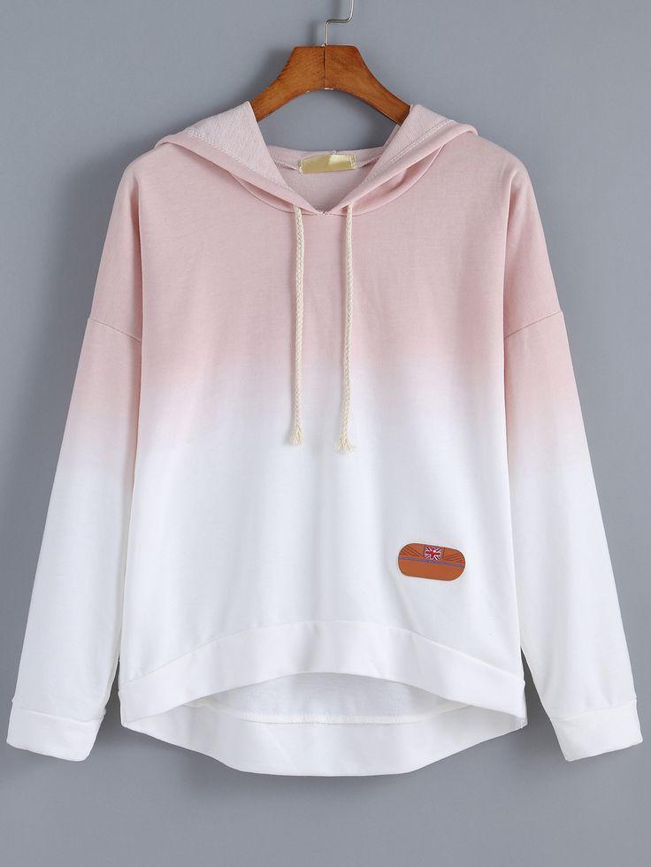 Dip Hem Hooded Ombre Pink Sweatshirt , 40% Off 1st Order