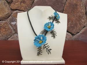 Elit Handicraft - N0002 İpek İğne Oyası - Akkaya Çiçeği Kolye