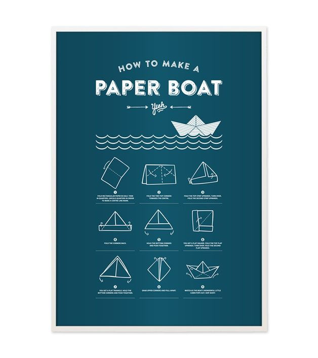 "Poster in A3 mit Faltanleitung für Papierboote / artprint ""how to make a paper boat"", modern living, typo by beautees via DaWanda.com"