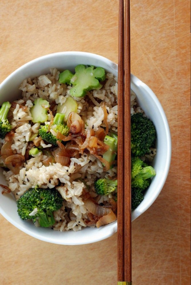 Basmati Rice Pilaf with Caramelized Onions and Broccoli