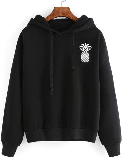 Sweat-shirt imprimé ananas avec capuche - noir