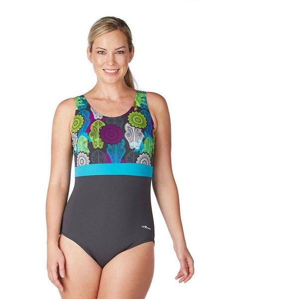 Women's Dolfin Colorblock Moderate Scoopback One-Piece Swimsuit ($66) ❤ liked on Polyvore featuring swimwear, one-piece swimsuits, med blue, plus size, plus size bathing suits, plus size shelf bra, blue one piece swimsuit, floral one-piece bathing suits and plus size one piece swimsuits