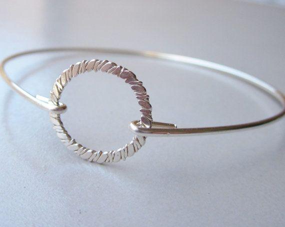 Harmony Bangle Bracelet, Textured Circle Bangle, Sterling Silver Hoop Bracelet, Circle Me, Bridesmaid Gift, Love Circle Jewelry (B27SS)