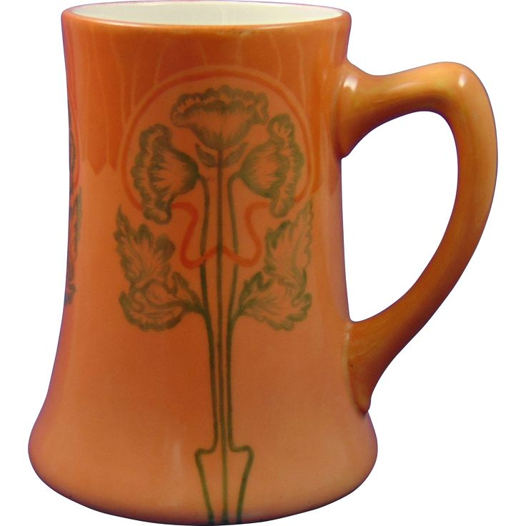 Jean Pouyat (JP) Limoges Arts & Crafts Floral Design Tankard/Mug from darkflowers on Ruby Lane