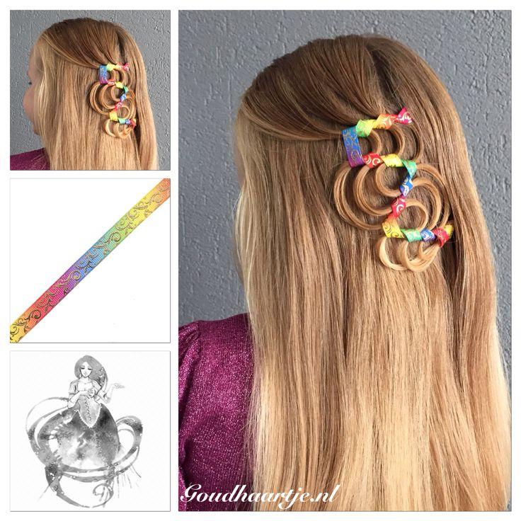 This is the #hollywoodwaveribbonbraid with a beautiful rainbow ribbon from Goudhaartje.nl  #ribbonbraid #braid #hair #hairstyle #ribbon #hairaccessories #vlecht #lint #haarlint #haar #haarstijl #haaraccessoires #goudhaartje