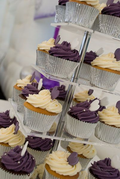 Purple, Cream and Silver Engagement Cupcake Tower http://www.weddingacrylics.co.uk/square-cupcake-stands/000MC-SQUARE.html