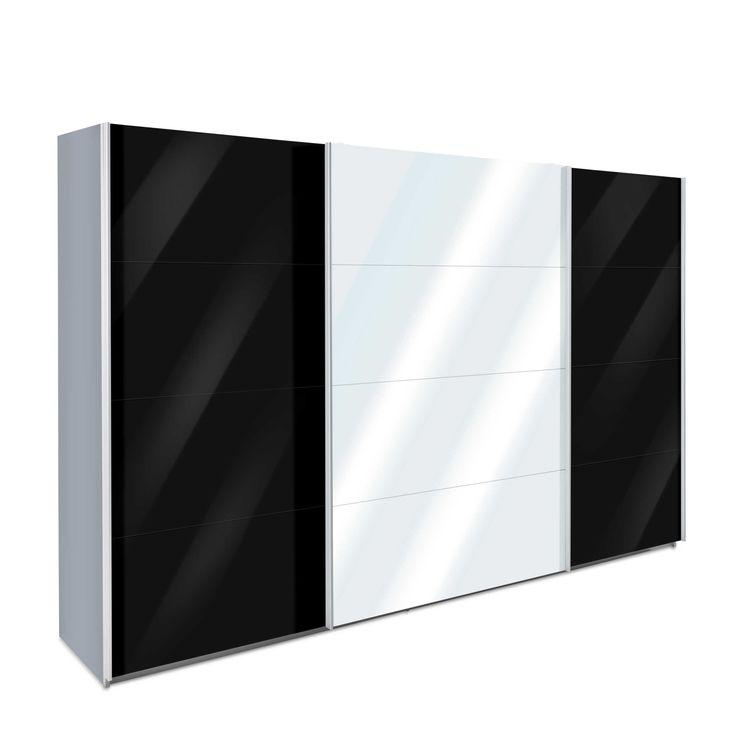 Rauch Pack´s, Rauch Pack´s Schwebetürenschrank Aosta, 315 x 210 cm Schwarz Glas