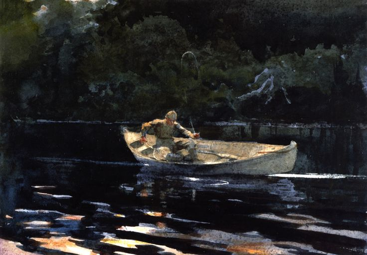 campfire adirondacks by winslow homer Winslow homer, one of the foremost painters in 19th-century america and   adirondack guide campfire, adirondacks netting the fish north.