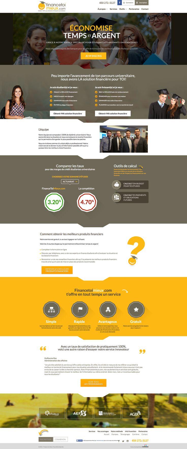 Nos Réalisations: Nouveau site web de financetoimieux. Service de financement auprès des étudiants. Négocie pour vous auprès des banques. #webdesign #financemenrt #étudiant