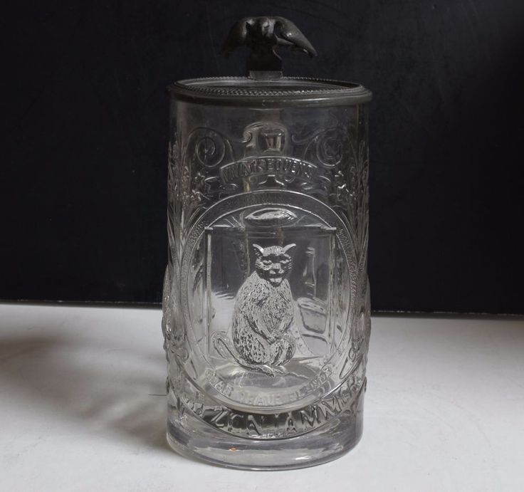 """1800'S ANTIQUE GERMAN LIDDED GLASS STEIN . 25 LITER. LID IS ENGRAVED 1883---MOLDED GLASS MADE FROM 1840'S TO 1880'S. NO MAKERS MARK--MADE IN GERMANY--5"""" TALL.  $74.95"""