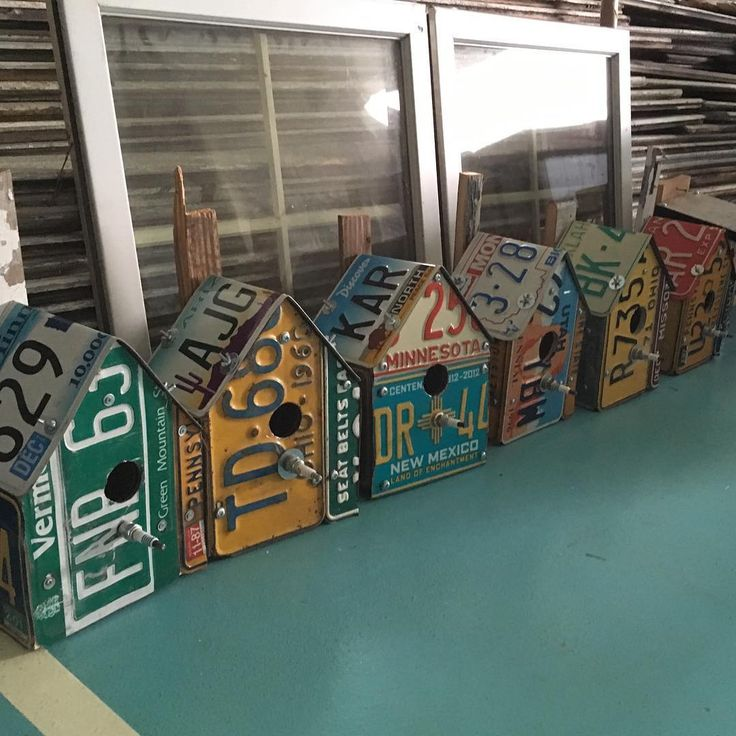 License plate bird houses ready and waiting . @holycrapcraftco #birdhouse…