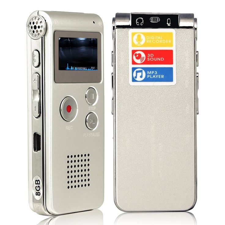 Digital Audio Voice Recorder / Dictaphone / MP3 Player -8GB / 650HR / Multifunctional Rechargeable Dictaphone Player with Built-In Speaker (Silver)