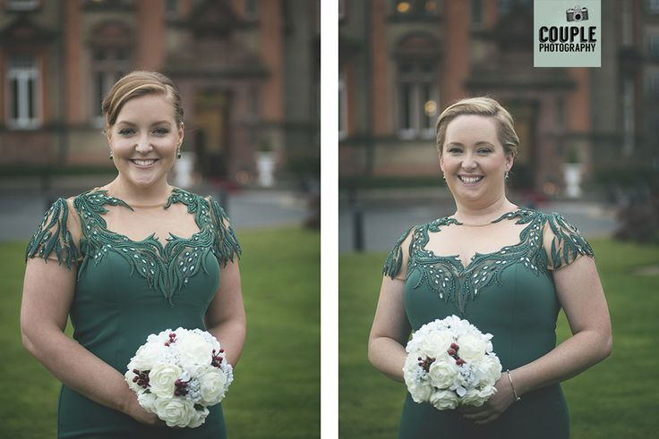 The bridesmaids in emerald green gowns. Weddings at Thomas Prior Hall, The Clayton Hotel by Couple Photography.