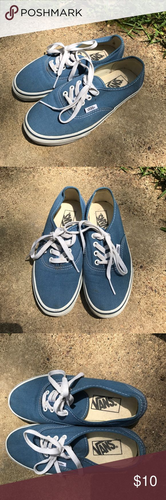 Light navy Vans Well loved pair of light navy blue vans. They do have a bit of dirt and dog hair from sitting in my closet for so long. However they don't have much wear on them. Vans Shoes