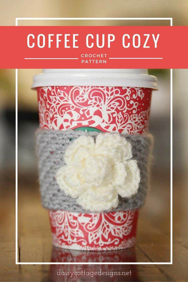 Coffee cozy crochet pattern! The cutest flower coffee cozy. Perfect for hot coffee on a cold day!