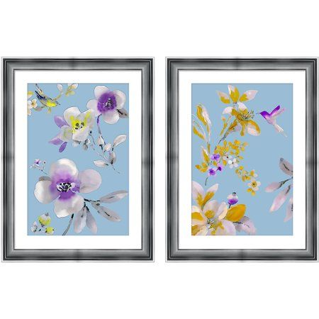 Watercolor Flowers 23.5 inch x 31.5 inch Wall Art, Silver