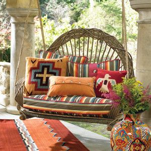 Southwestern Patio Decor | Outdoor Patio Furniture: Rustic Rocking Chairs, Southwestern Table and ...
