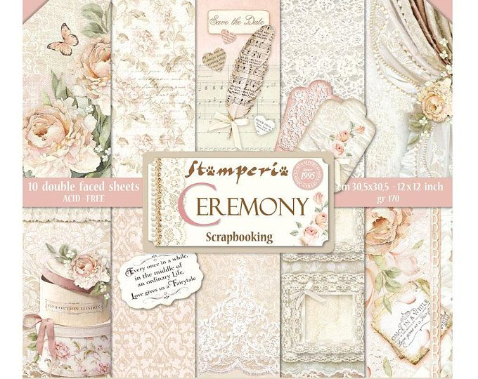 Stamperia Provence Paper Pack Double Sided Paper 12x12 Etsy Paper Pads Vintage Wedding Cards Scrapbook Paper