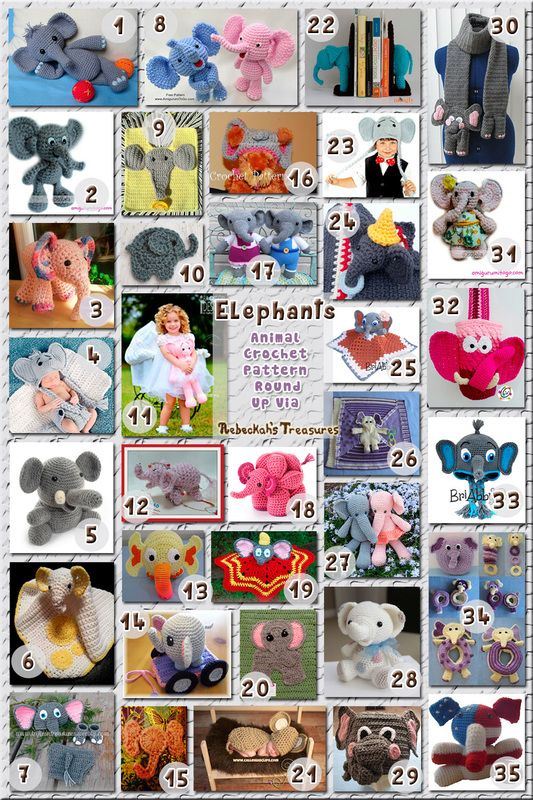 Elephants - Animal Crochet Pattern Round Up via @beckastreasures