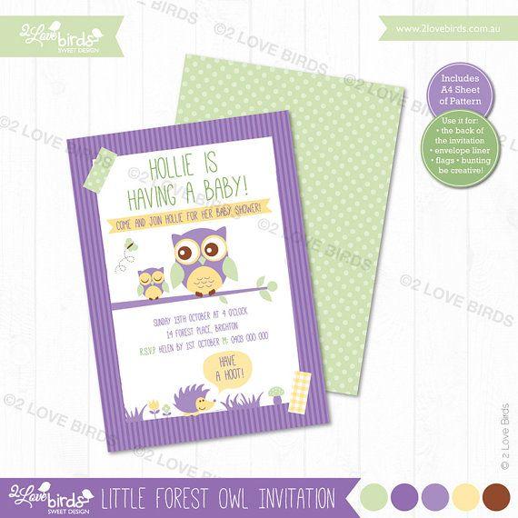 Little Forest Owl Printable Invitation by 2LoveBirdsDesign on Etsy