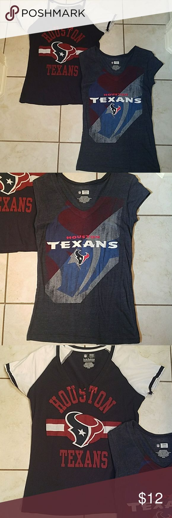 Woman's Houston Texans T Shirts Woman's Houston Texans T Shirts... Being sold together... Only worn a few times... In perfect condition... Sexy and festive... Be game day ready!!! NFL Tops Tees - Short Sleeve