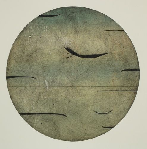 Simon Kaan, <i>Untitled Series 11-Circle II (Colour Variation)</i>, intaglio woodcut on 660 x 560 mm paper, from an edition of 12, 2011. Edition now sold out.