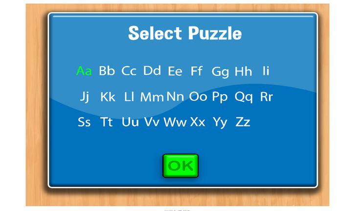 Select Puzzle menu. FULL Alphabet puzzles available in FULL and PRO Versions.
