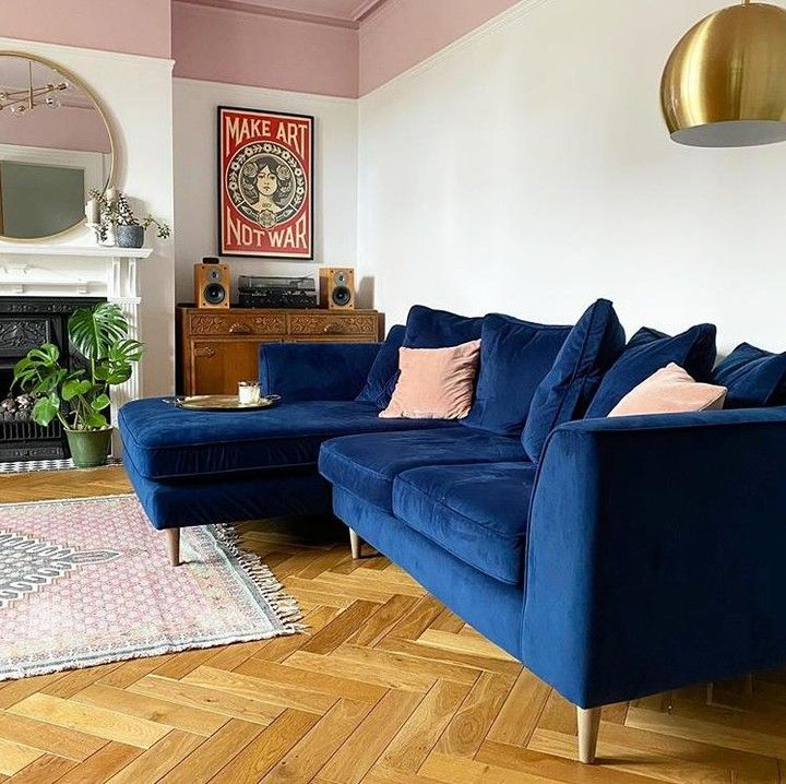 Barker And Stonehouse On Instagram Our Conza Chaise Sofa Makes A Statement In Bold Blu Teal Sofa Living Room Corner Sofa Living Room Velvet Couch Living Room