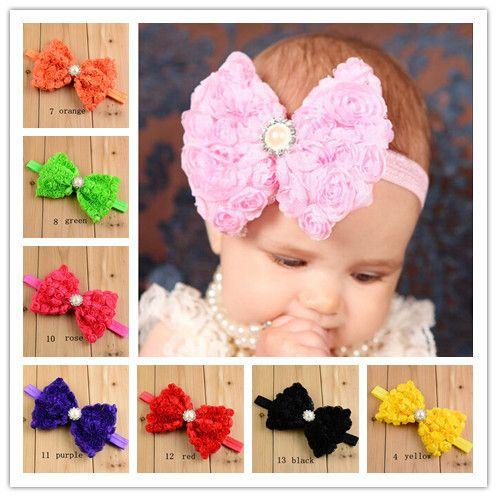 10Y41909 flor : 120 * 90 mm pérola elastic headband flor, Presente de casamento envoltório