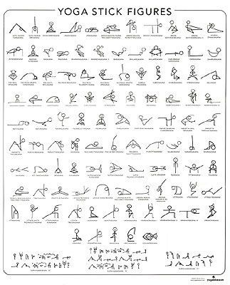 yoga poses in stick figures. maybe print out and pin it up in my room.: