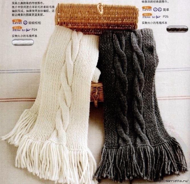 Вяжем спицами мужской шарф с косами (1) (667x645, 356Kb)