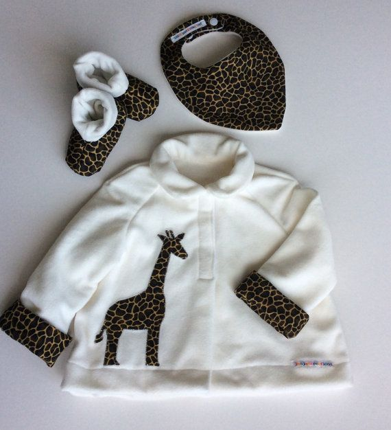 baby jacket soft boots  and bib set-giraffe motif ideal baby